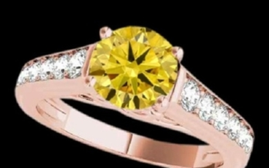 1.50 CTW Certified SI/I Fancy Intense Yellow Diamond