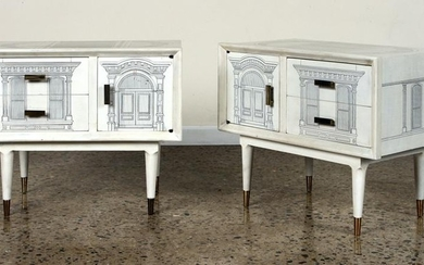 PAIR CABINETS PAINTED MANNER OF FORNASETTI C.1960