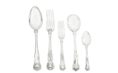 A group of King's pattern silver flatware