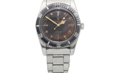 Rolex. A stainless steel automatic bracelet watch with tropical gilt dial