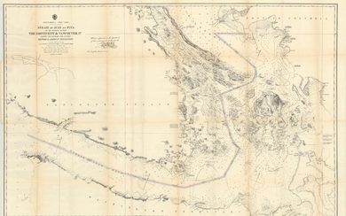 """Strait of Juan de Fuca and the Channels Between the Continent & Vancouver Id. Showing the Boundary Line Between British & American Possessions"", U.S. Hydrographic Office"