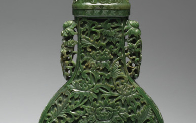 A spinach-green jade 'Chrysanthemum' vase and cover