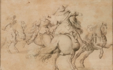 Anthonie Palamedesz, attributed to, Three Riders and a Horse