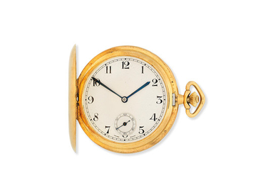 An 18K gold keyless wind full hunter pocket watch