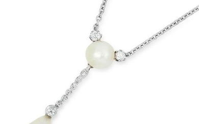 ANTIQUE NATURAL PEARL AND DIAMOND PENDANT NECKLACE,