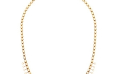 ANTIQUE PEARL NECKLACE in high carat yellow gold, set