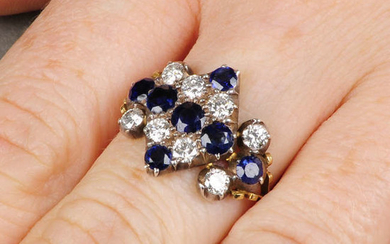 A composite mid Victorian silver and 18ct gold sapphire and diamond ring.