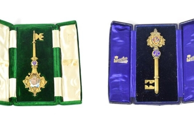 An Edward VII Silver-Gilt and Enamel Presentation Key, by Fattorini...