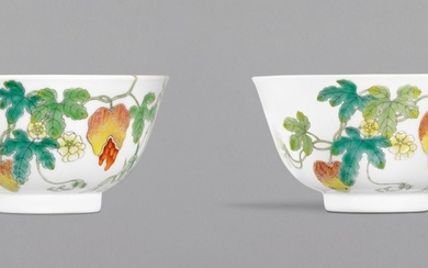 A PAIR OF FAMILLE-ROSE 'BALSAM PEAR' BOWLS, DAOGUANG SEAL MARKS AND PERIOD | 清道光 粉彩過枝瓜瓞綿綿紋盌一對 《大清道光年製》款