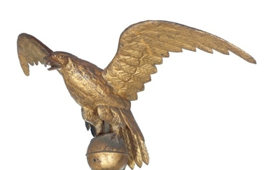 FINE AND RARE LARGE GILT MOLDED FULL-BODIED SHEET COPPER EAGLE WEATHERVANE, NEW ENGLAND, 19TH CENTURY