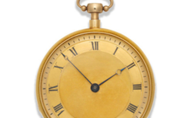 French. A good continental gold open face key wind musical quarter repeating pocket watch
