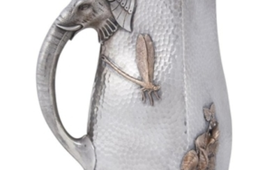 Hammered sterling silver and mixed metal Japanese/Indian-style pitcher Gorham...