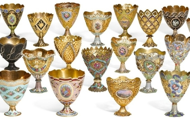 AN IMPORTANT COLLECTION OF TWENTY ENAMELLED GOLD AND GILT ZARFS, MADE FOR THE OTTOMAN MARKET, SWITZERLAND, 19TH CENTURY