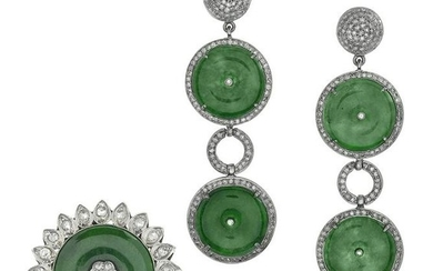 Jade and Diamond Earrings and Ring