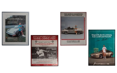 Porsche Tennis-Themed Framed Posters and Advertisement