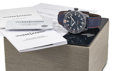 ULYSEE NARDIN. A BLACK PVD-COATED STAINLESS STEEL AUTOMATIC LIMITED EDITION WRISTWATCH WITH DATE, ORIGINAL WARRANTY AND BOX, SIGNED ULYSSE NARDIN, REF. 8163-175, BLUE SHARK, 300M, LIMITED EDITION 231/300, CIRCA 2019