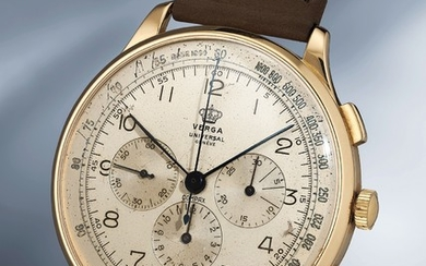 Universal, Ref. 12515 An extremely rare oversized yellow gold chronograph wristwatch with box