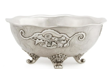 A Whiting silver Japanese style center bowl