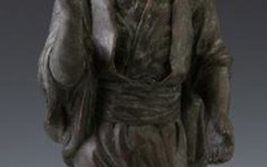 Bronze Figure of a Malaysian Man, 20th c., on an