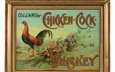 TIN SELF-FRAMED CHICKEN COCK WHISKEY SIGN.