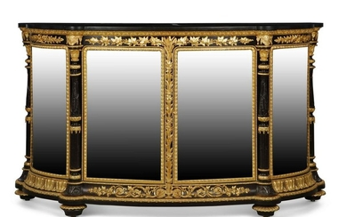 A French gilt bronze mounted ebonized credenza
