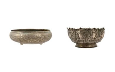 TWO ENGRAVED MALAY BOWLS Malay Archipelago, late 19th -