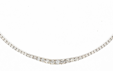 Diamond and 18k white gold necklace