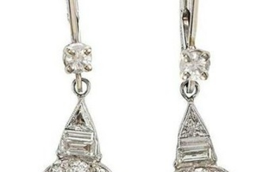Platinum, Gold and Diamond Earrings