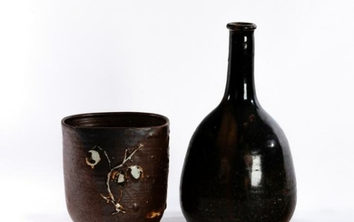 Studio Pottery, a square form vase, tenmoku glaze with