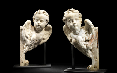 A pair of Italian 18th century white marble angels