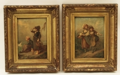 PAIR OF 19TH C. OIL ON CANVAS PAINTING S OF 2 YOUNG GIRLS
