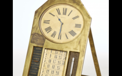 TONNEL PARIS Brass desk clock, with calendar and thermometer...