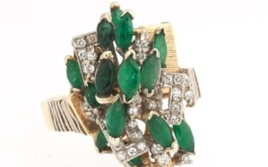 Ladies' Gold, Emerald and Diamond Cluster Ring