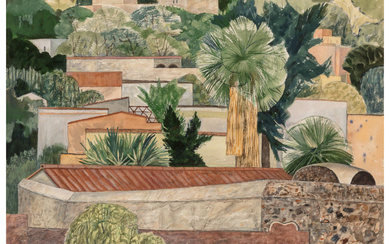 George Grammer (1928-2019), Mexican Town - San Miguel de Allende Rooftops near the Fon-ton Court (1951)