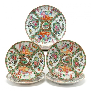 Seven Chinese Export Famille Rose Plates