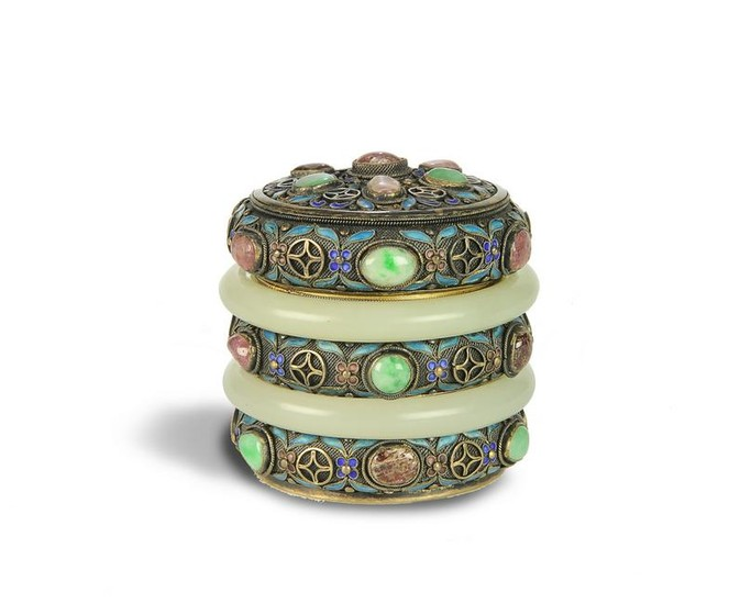 Silver Enameled Cylinder Box with 2 Jade Bangles