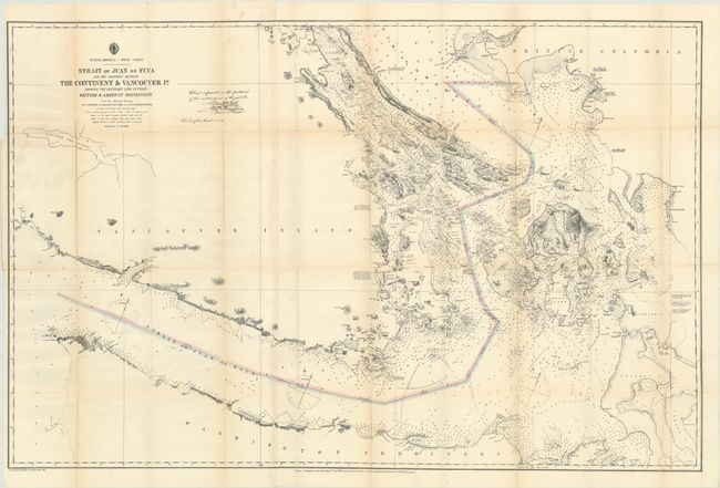 """""""Strait of Juan de Fuca and the Channels Between the Continent & Vancouver Id. Showing the Boundary Line Between British & American Possessions"""", U.S. Hydrographic Office"""