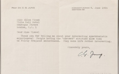 Jung, Carl (1875-1961) Typed Letter Signed, 4 June 1955.