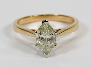 1.15CT DIAMOND GIA N SI 14KT GOLD RING SIZE 6 T.W. 2.6 GR