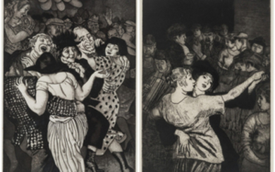 A PAIR OF AQUATINT ETCHINGS BY LAURA KNIGHT (BRITISH 1877-1970)