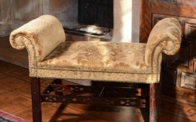 A George III mahogany stool or window seat