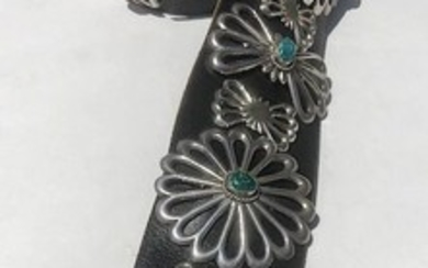 Vintage Navajo Sand Cast Sterling Silver and Turquoise Concho Belt