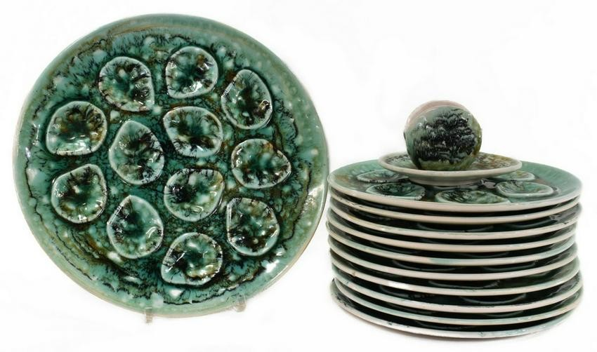 (12) FRENCH NIDERVILLER FAIENCE OYSTER PLATES