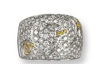 A diamond bombé ring by Bulgari, half pavé set wit…