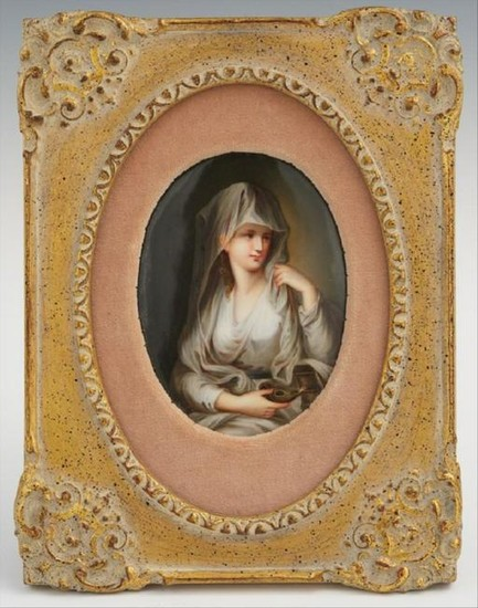 19 Century German Hand Painted Porcelain Plaque Of The