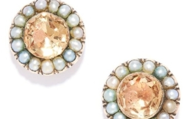 ANTIQUE IMPERIAL TOPAZ AND PEARL EARRINGS in yellow