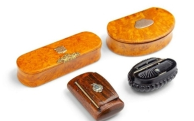 A Collection of Four Continental Carved Wood Snuf