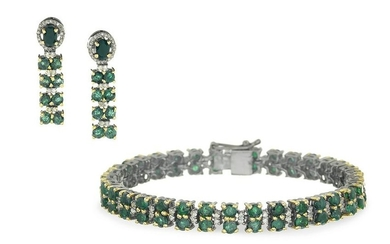 Emerald, Diamond and Sapphire Jewelry Suite