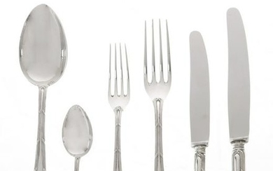 German 800 silver part flatware set for twelve, 61pcs