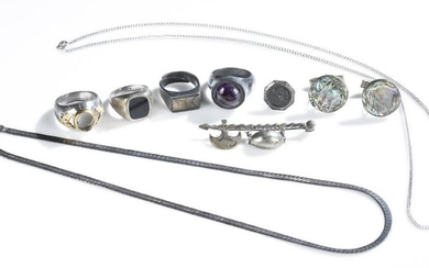 Group of silver tone accessories.